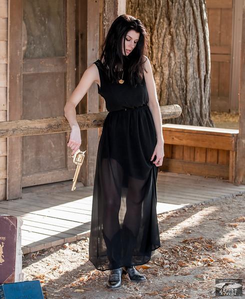 I Shot the Sheriff! Nikon D800E Photos Cowgirl Model Goddess  in Black Dress! Black Hair & Blue Eyes Cowboy Boots & Gold 45 Revolver  Gun!