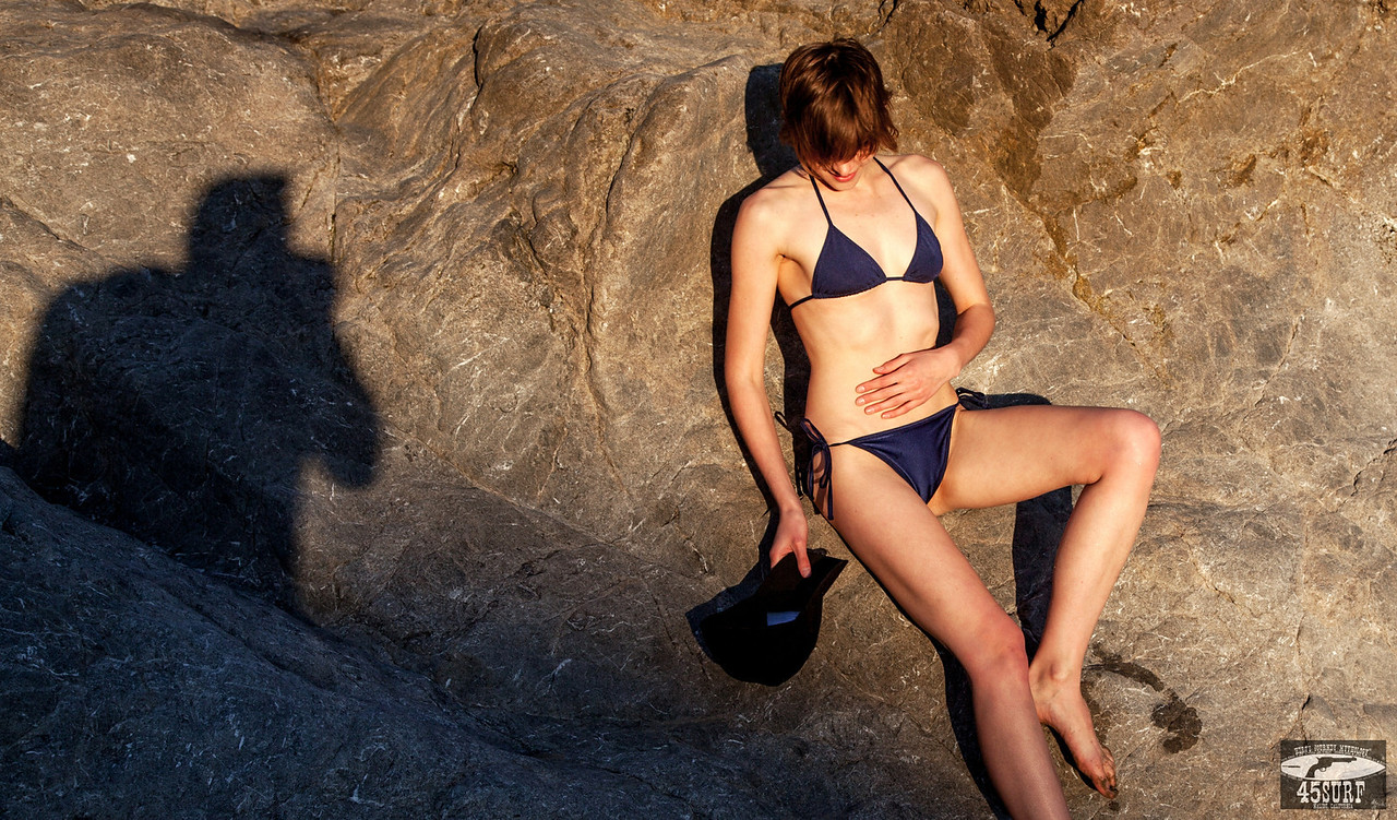 Beautiful Canon 5D Mark II Photos of Gorgeous Brunette Swimsuit Bikini Model Goddess with Pretty Blue Eyes :)