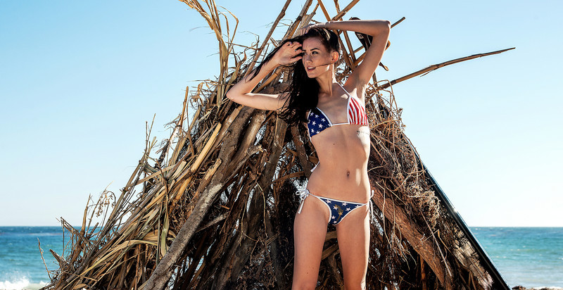 American Flag Bikini! Nikon D800E Photos Pretty Brunette Swimsuit Bikini Model Goddess! Gorgeous Blue Eyes! Sharp Nikkor 70-200mm VR2 F2.8 Lens!