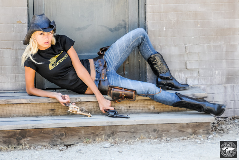 Beautiful Blond Cowgirl in Cowboy Boots with Guns! Tall, Thin, Fit, Hot & Pretty Model Goddess!