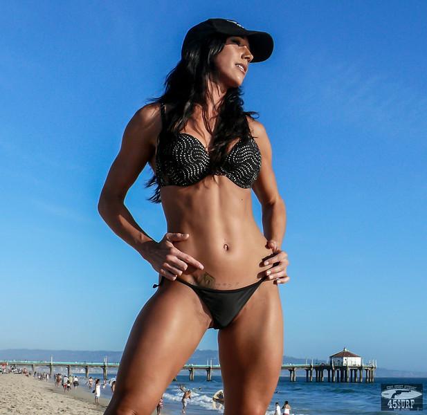 Beautiful Brunette Surf Girl Bikini Swimsuit Model Goddess@ Manhattan Beach! Pro Body Builder!
