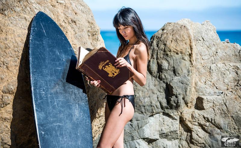 Nikon D800 Photos Pretty Asian Swimsuit Bikini Model Goddess with Black Surfboard: Sharp Nikkor 70-200mm VR2 F/2.8 Lens