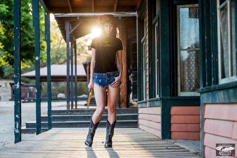Nikon D800E Photos Cowgirl Model Goddess with Cowboy Boots, Cowboy Hat, & Gold 45 Revolver Gun!