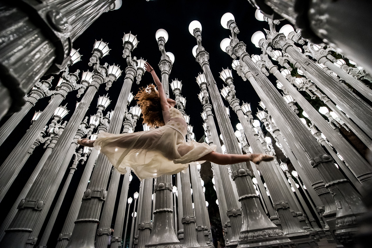 Ballet Urban Light Sculpture! LACMA Collections! Nikon D810 Ballet Photos of Pretty Ballerina Dancing at the LACMA Lights!  Wide Angle Nikon 14-24mm f/2.8G ED Auto Focus-S Nikkor Wide Angle Zoom Lens!