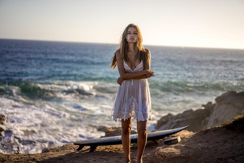 Beautiful Brunette Bikini Swimsuit Model Sea Goddess in a White Summer Dress!