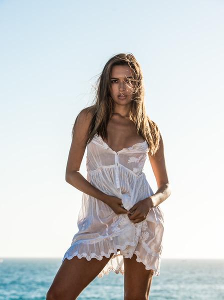 Beautiful Brunette Swimsuit Bikini Model Sea Goddess in a White Summer Dress!
