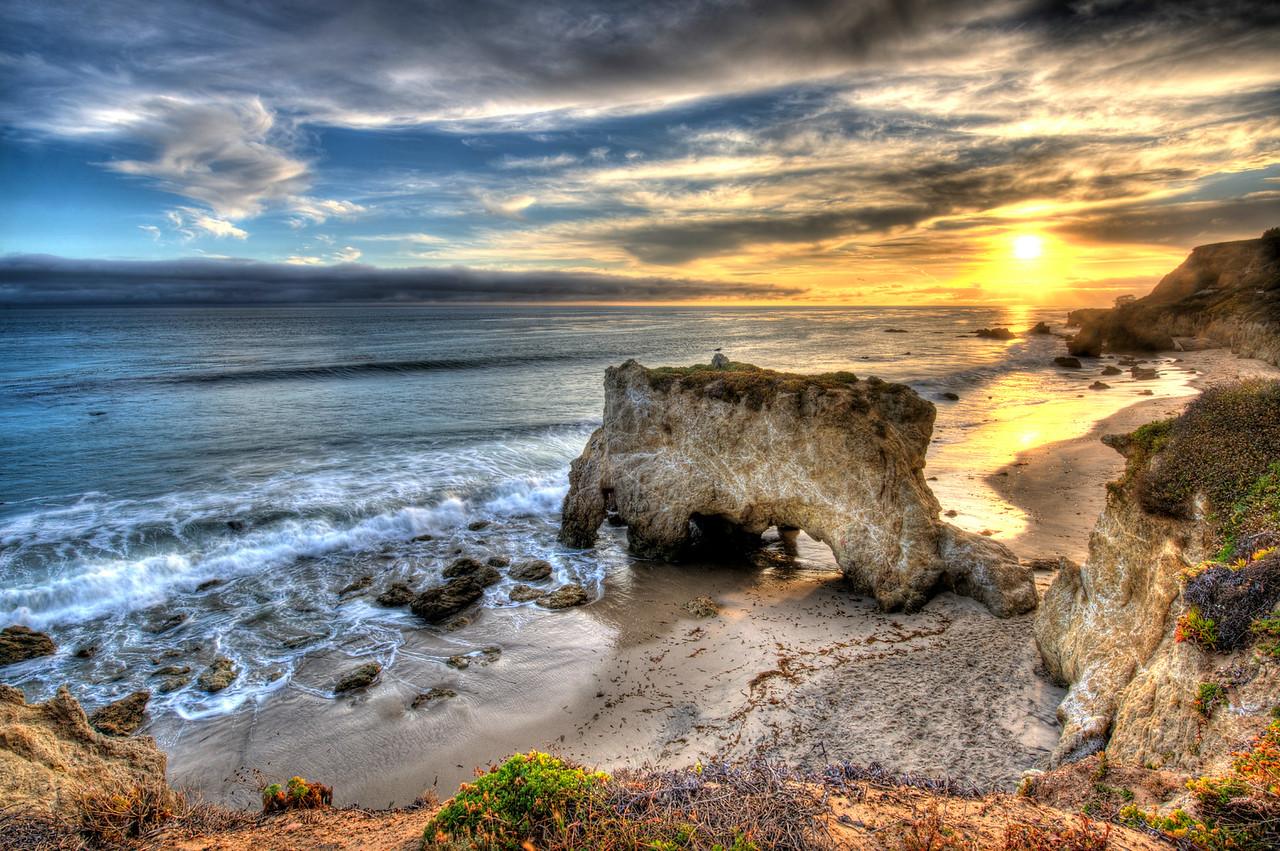 HDR Sunset over El Matador Beach in Malibu