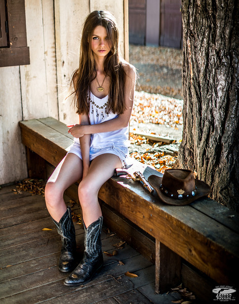 I Shot the Sheriff! Nikon D800 + 50mm F/1.4 Prime Nikkor Photos Cowgirl Model Goddess in White Dress! Sandy Brown Hair & Blue Eyes Cowboy Boots & Gold 45 Revolver Gun!