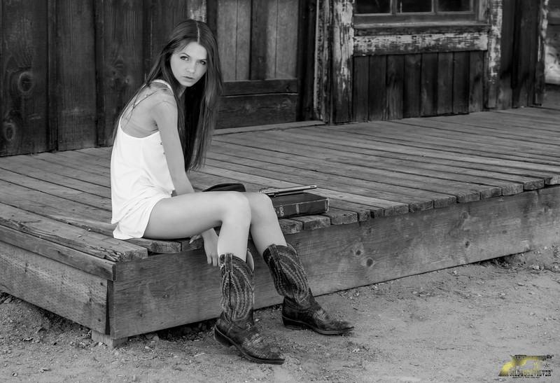 I Shot the Sheriff! Nikon D800E Photos Cowgirl Model Goddess in White Dress! Sandy Brown Hair & Blue Eyes Cowboy Boots & Gold 45 Revolver Gun!