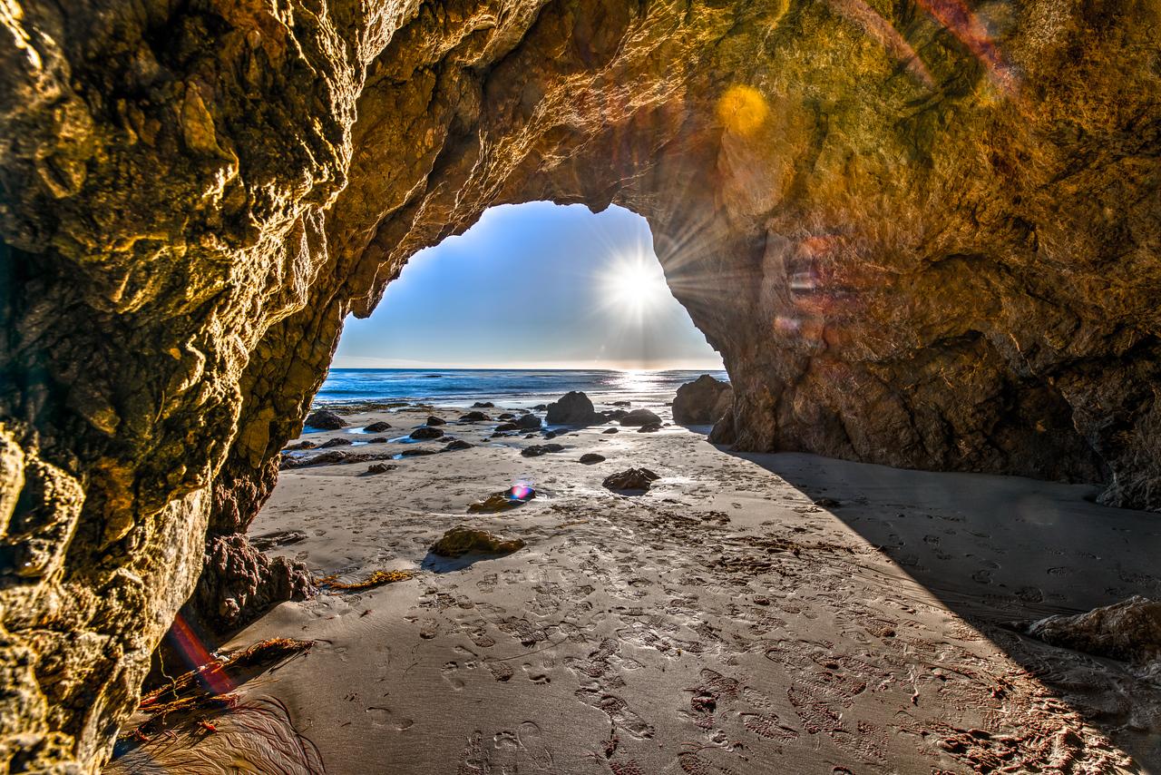 El MAtador Beach Sea Cave Sunset!  Nikon D800E Dr. Elliot McGucken Fine Art Landscape & Nature Photography for Los Angeles Fine Art Gallery Show !