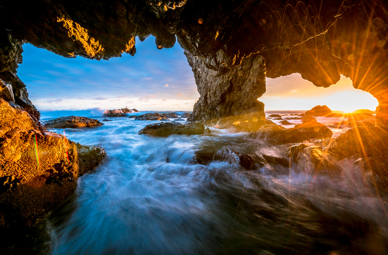 Malibu Sea Cave Sunset! El Matador Beach! Nikon D810 HDR Landscape Photos! Dr. Elliot McGucken Fine Art Photography!  14-24mm Nikkor Wide Angle F/2.8 Lens!