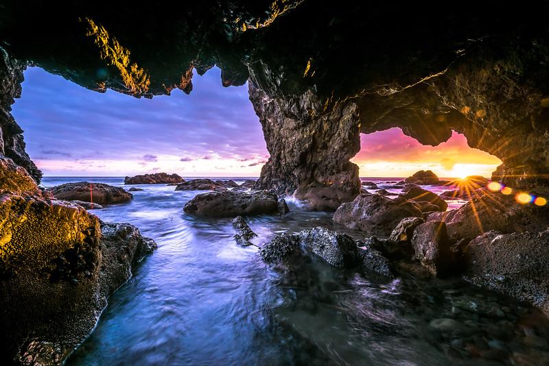 Malibu Sea Cave Sunset! El Matador Beach! Nikon D810 HDR Landscape Photos! Dr. Elliot McGucken Fine Art Photography!  14-24mm Nikkor Wide Angle F/2.8 Lens!