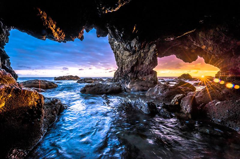 FIRE & ICE! Malibu Sea Cave Sunset! El Matador Beach! Nikon D810 HDR Landscape Photos! Dr. Elliot McGucken Fine Art Photography!  14-24mm Nikkor Wide Angle F/2.8 Lens!