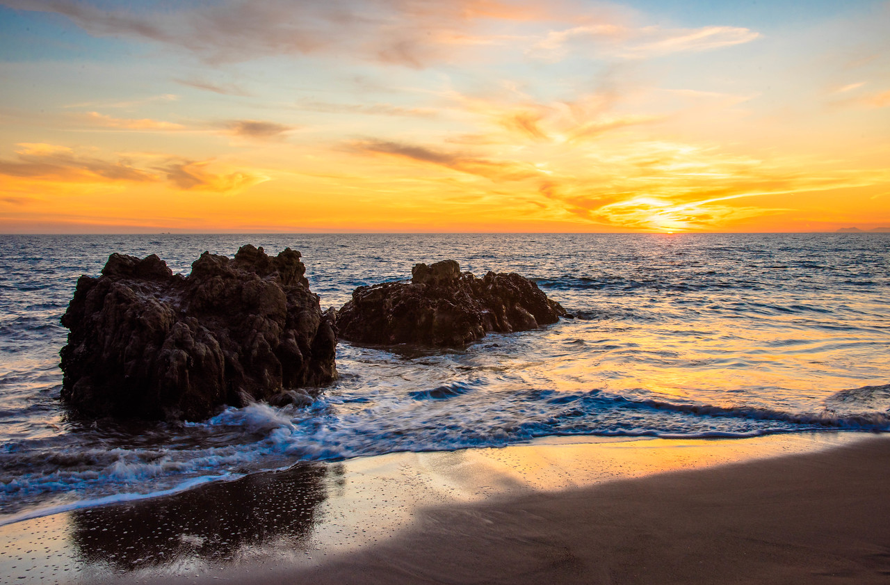 Malibu Sunset! Red, Yellow, Orange Clouds! Magical El Matador Beach Sunset! Nikon D810 HDR Photos Dr. Elliot McGucken Fine Art Photography!  14-24mm Nikkor Wide Angle F/2.8 Lens
