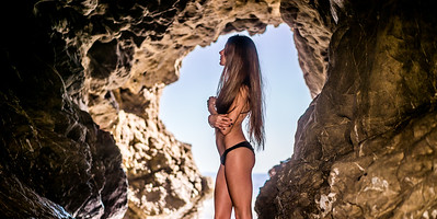 Sony A7R RAW Photos of Pretty Brunette Bikini Swimsuit Model Goddess in Sea Cave! Carl Zeiss Sony FE 55mm F1.8 ZA Sonnar T* Lens! Lightroom 5.3 Malibu Sea Cave !