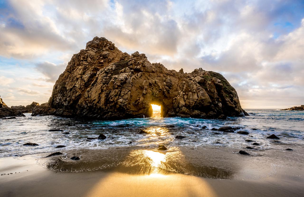 Nikon D810 HDR Photos Keyhole Rock (Sunset Through the The Keyhole) on Pfeiffer Beach Big Sur, Dr. Elliot McGucken Fine Art Photography!  14-24mm Nikkor Wide Angle F/2.8 Lens!