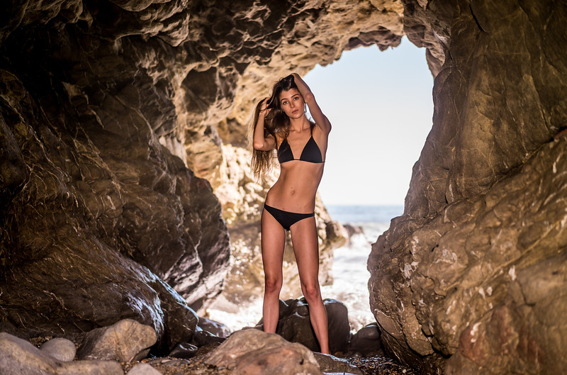 Sony A7R RAW Photos of Pretty Brunette Bikini Swimsuit Model Goddess in Sea Cave! Carl Zeiss Sony FE 55mm F1.8 ZA Sonnar T* Lens! Lightroom 5.3 !