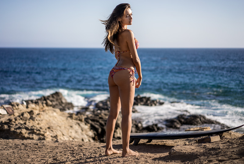 Sony A7R RAW Photos of Pretty Brunette Bikini Swimsuit Model Goddess in Seaside Bluff Cliff! Carl Zeiss Sony FE 55mm F1.8 ZA Sonnar T* Lens! Lightroom 5.3 Malibu Beach!