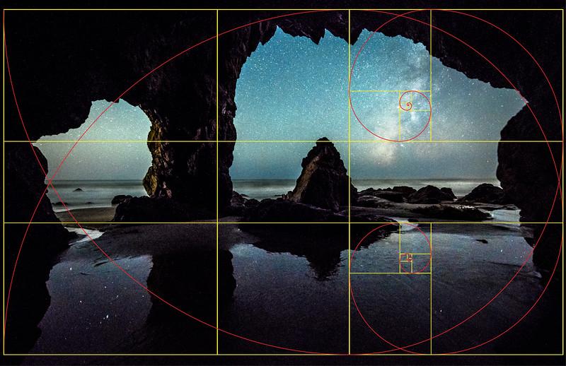 The Golden Spiral, Fibonacci Spiral, & Golden Rectangle in Fine Art Photography!  Malibu Moon & Milkyway! Starry Night Astrophotography! Nikon D810 & 14-24mm F2.8 Wide Angle Lens!   Dr. Elliot McGucken Fine Art Landscapes & Seascape Photography!