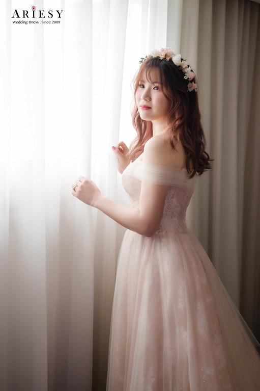 禮服出租,新莊自助婚紗,手工婚紗,婚紗包套,香檳粉晚禮服,甜美氣質晚禮服
