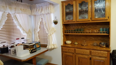 Breakfast nook and built-in oak china cabinet