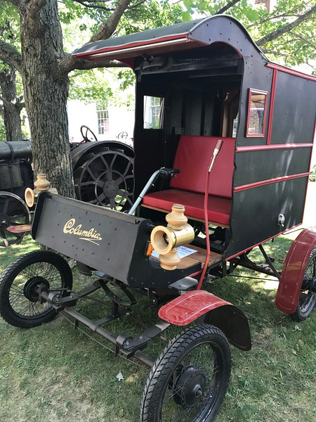 A 1904 Columbia Electric Replica owned by Jim Guthrie of Novelty, OH sits on display at the 47th annual Antique Power and Steam Exhibition in Burton, Ohio July 30. (Harley Marsh/The News-Herald)
