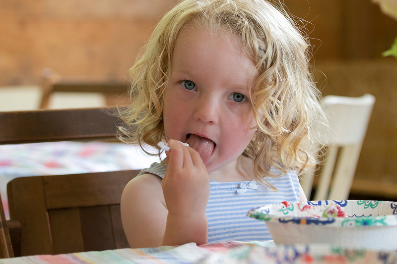 The 47th annual Tyngsboro-Dunstable Historical Society Strawberry Festival was held at the Sarah Tyng Little Red School House in Dunstable on Saturday, June 22, 2019. Licking her spoon to get the rest of the whip cream as she eats some of the strawberry shortcake at the festival is Naomi Shaw, 2, from Tyngsboro. SENTINEL & ENTERPRISE/JOHN LOVE