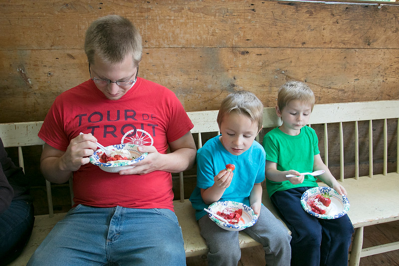 The 47th annual Tyngsboro-Dunstable Historical Society Strawberry Festival was held at the Sarah Tyng Little Red School House in Dunstable on Saturday, June 22, 2019. Enjoying some of the strawberry shortcake at the festival is Mark Witmer with his sons Aiden, 5, and Daniel, 4, all of Groton. SENTINEL & ENTERPRISE/JOHN LOVE
