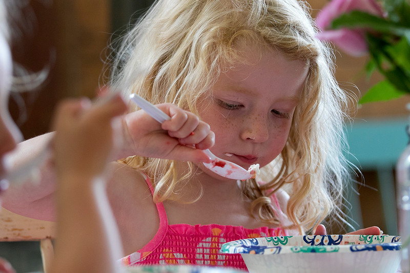 The 47th annual Tyngsboro-Dunstable Historical Society Strawberry Festival was held at the Sarah Tyng Little Red School House in Dunstable on Saturday, June 22, 2019. Enjoying some of the strawberry shortcake at the festival is  Amelia Shaw, 4, of Tyngsboro. SENTINEL & ENTERPRISE/JOHN LOVE