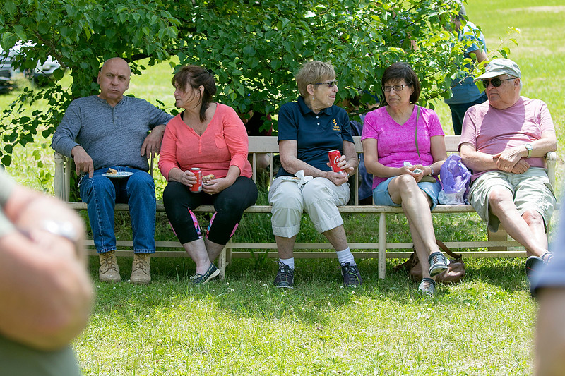 The 47th annual Tyngsboro-Dunstable Historical Society Strawberry Festival was held at the Sarah Tyng Little Red School House in Dunstable on Saturday, June 22, 2019. Enjoying some time in the shade at the festival is, from left, Henry Fontaine and Janet Fontaine from Dunstable next to Alice Brown, Mirta Lind and Ken Lind all from Ayer. SENTINEL & ENTERPRISE/JOHN LOVE