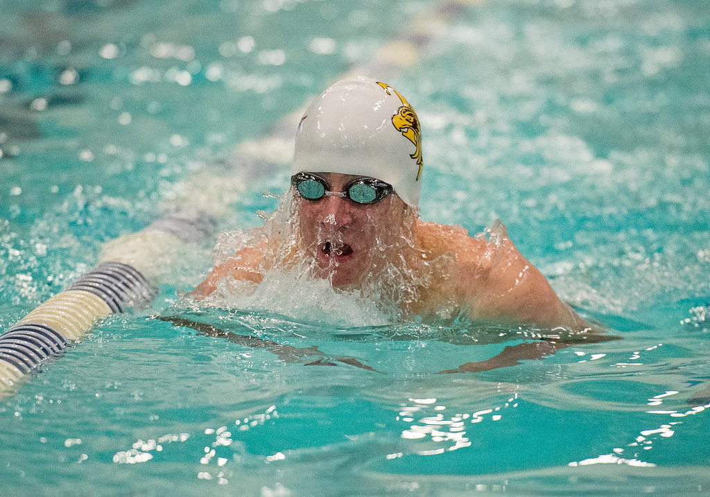 . Thompson Valley\'s Michael Vierra competes in the 100-yard breatstroke Friday afternoon May 13, 2016 during the Northern Conference Championships preliminary round at the Greeley Recreation Center. (Photo by Michael Brian/Loveland Reporter-Herald)