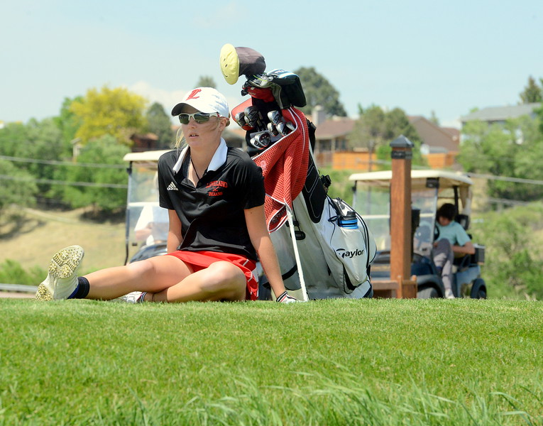 Loveland's Lauren Lehigh sits on the tee box as she waits for the group in front of her to move forward during Tuesday's second round of the 4A state girls golf tournament at Country Club of  Colorado in Colorado Springs. (Mike Brohard/Loveland Reporter-Herald)