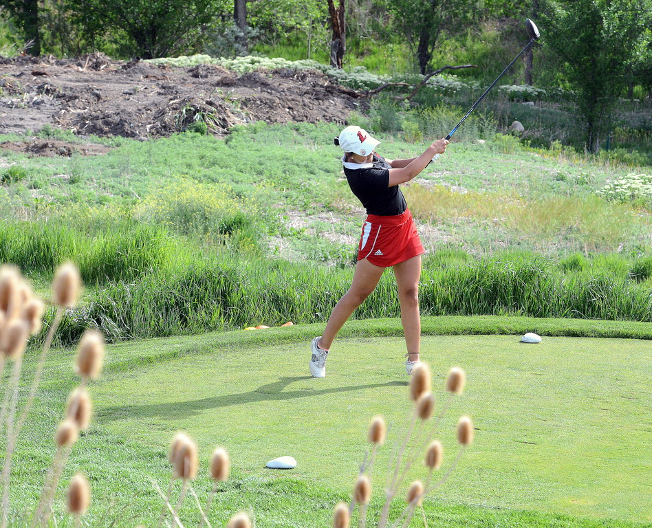 Loveland's Natalee Hall hits her driver from No. 11  during the second round of the 4A state girls golf tournament at Country Club of  Colorado in Colorado Springs. (Mike Brohard/Loveland Reporter-Herald)