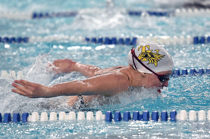 Thompson Valley's Katie von der Lippe swims the 100 butterfly Friday, Feb. 10, 2017, during the girls 4A State Swimming Championships at Eudora Pool Ice Center in Fort Collins. (Photo by Jenny Sparks/Loveland Reporter-Herald)