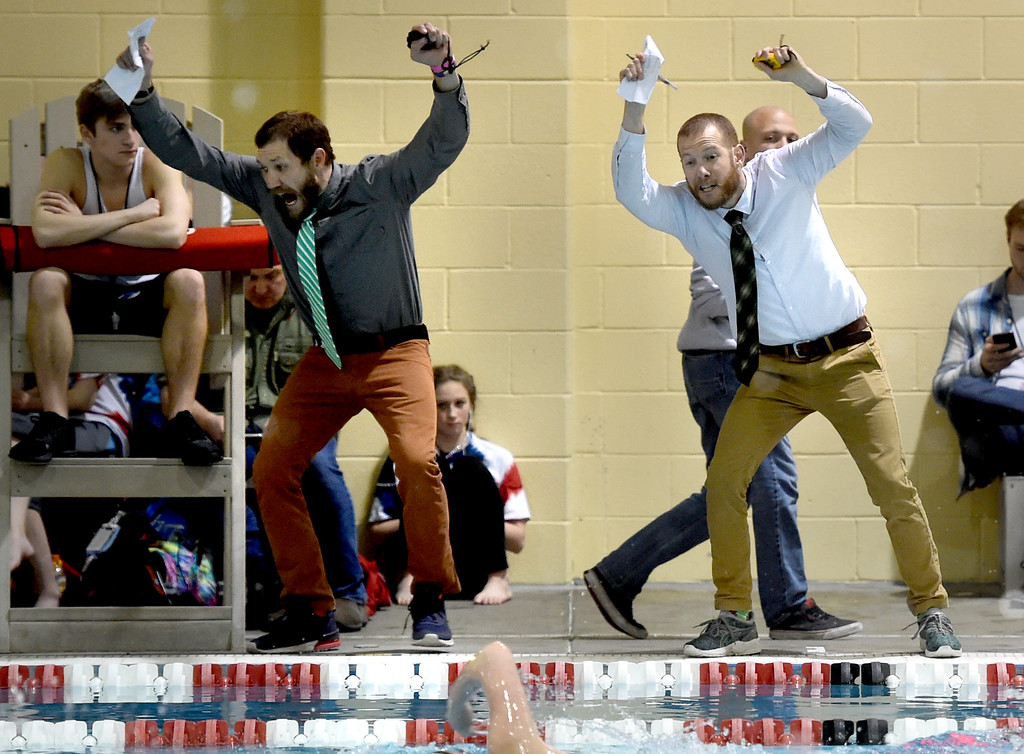 . Andrew Harbuck, left, and Rich Leeds, both coaches at George Washington, encourage their swimmers at Colorado 4A Girls State Swimming in Thornton on Saturday.  For more photos, go to BoCoPreps.com.  Cliff Grassmick / Staff Photographer/ February 10, 2018