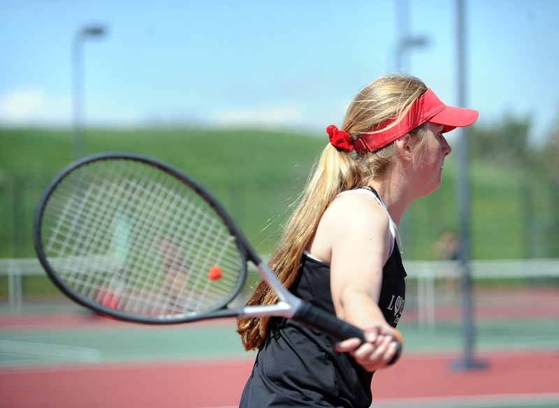 Ali Westbrook prepares for a forehand during the 4A regional tournament at Centennial Park in Greeley on May 2, 2019. (Colin Barnard/Loveland Reporter-Herald)