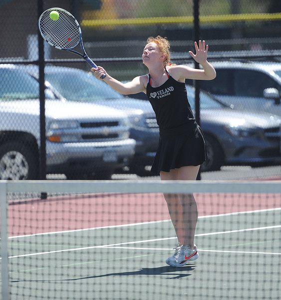 Lindsey Knapp jumps for a volley during the 4A regional tournament at Centennial Park in Greeley on May 2, 2019. (Colin Barnard/Loveland Reporter-Herald)