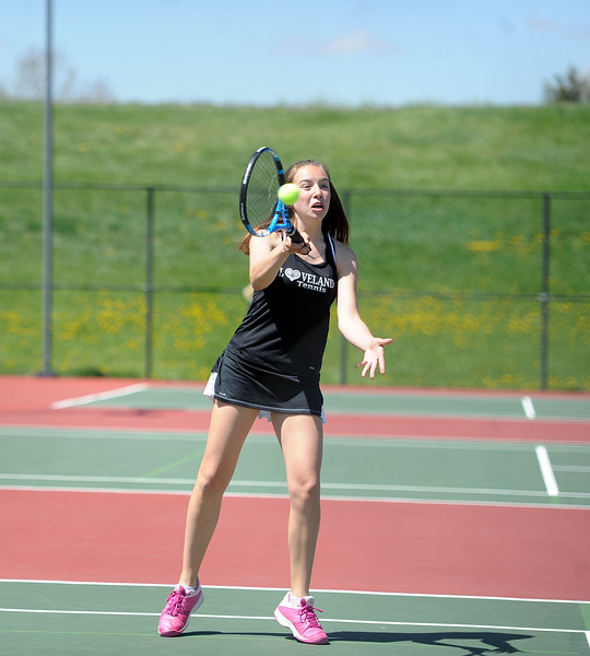 Megan Lindsey hits a forehand during the 4A regional tournament at Centennial Park in Greeley on May 2, 2019. (Colin Barnard/Loveland Reporter-Herald)