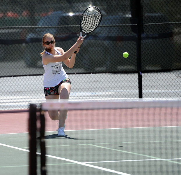 Sydney Laws leans into a shot during the 4A regional tournament at Centennial Park in Greeley on May 2, 2019. (Colin Barnard/Loveland Reporter-Herald)