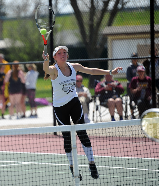 Autumn Porter directs a volley during the 4A regional tournament at Centennial Park in Greeley on May 2, 2019. (Colin Barnard/Loveland Reporter-Herald)