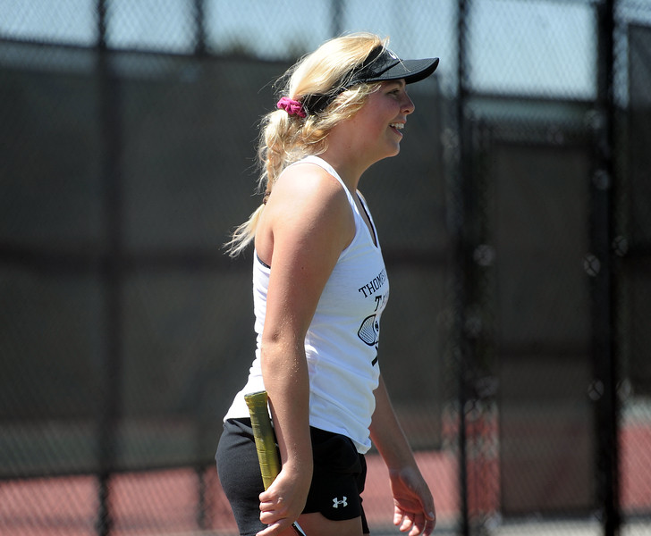 Dani Sobraske smiles after a point during the 4A regional tournament at Centennial Park in Greeley on May 2, 2019. (Colin Barnard/Loveland Reporter-Herald)