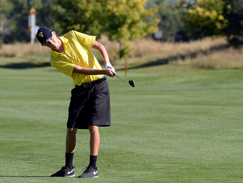 Thompson Valley's Darren Edwards hits from the fairway during the 4A Northern Regional Golf Tournament on Monday, Sept. 19, 2016, at Boomerang Golf Links in Greeley. (Photo by Jenny Sparks/Loveland Reporter-Herald)