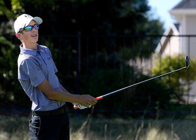 Mountain View's Wes Weber tees off on hole 7 during the 4A Northern Regional Golf Tournament on Monday, Sept. 19, 2016, at Boomerang Golf Links in Greeley. (Photo by Jenny Sparks/Loveland Reporter-Herald)