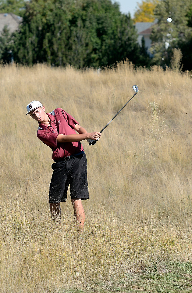 Berthoud High's Josh Schumacher hits out of the rough during the 4A Northern Regional Golf Tournament on Monday, Sept. 19, 2016, at Boomerang Golf Links in Greeley. (Photo by Jenny Sparks/Loveland Reporter-Herald)