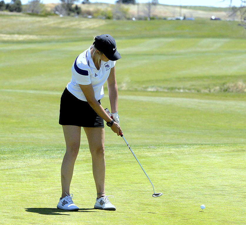 Mountain View's Camryn Polansky watches her putt during Friday's 4A Region 4 golf tournament at Murphy Creek Golf Course in Aurora.