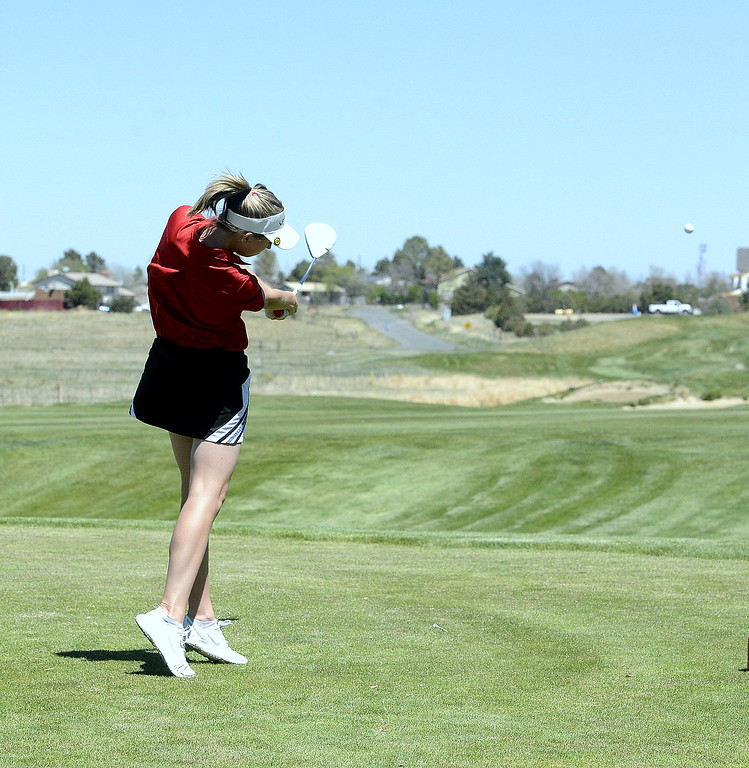 . Loveland\'s Hannah Doran rips a tee shot during Friday\'s 4A Region 4 golf tournament at Murphy Creek Golf Course in Aurora.