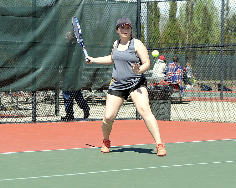 Thompson Valley's Lyndsey Bauer returns a shot in her 4A Region 4 semifinal match at No. 3 singles with Loveland's Grace Haenny on Wednesday. Bauer advanced to the title match with a 3-6, 6-3, 6-2 victory.