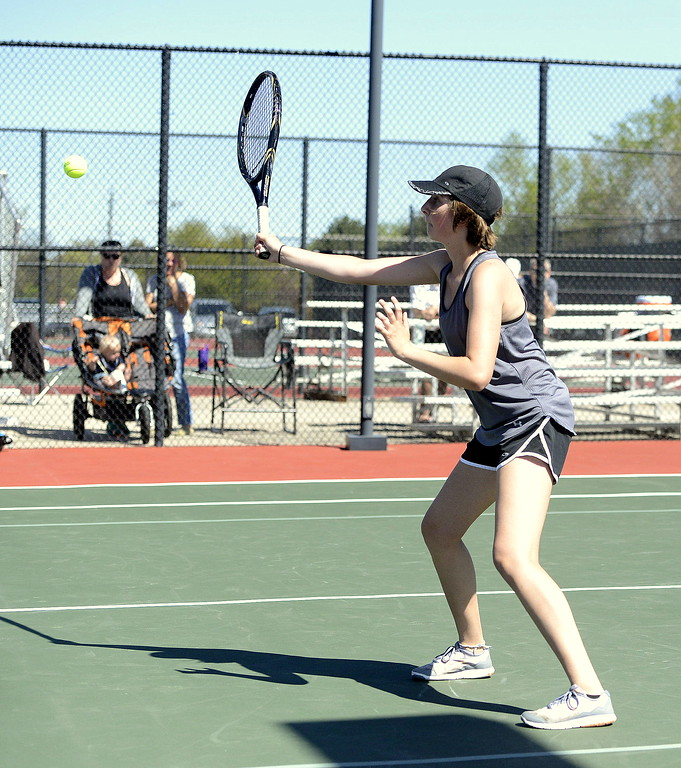 . Thompson Valley\'s Lauren Davies delivers a return during the No. 2 doubles championship match Thursday, May 4, 2017, in Greeley. She and partner Abi Parsons won a marathon match for the title, 6-7 (4), 6-4, 7-6 (5).