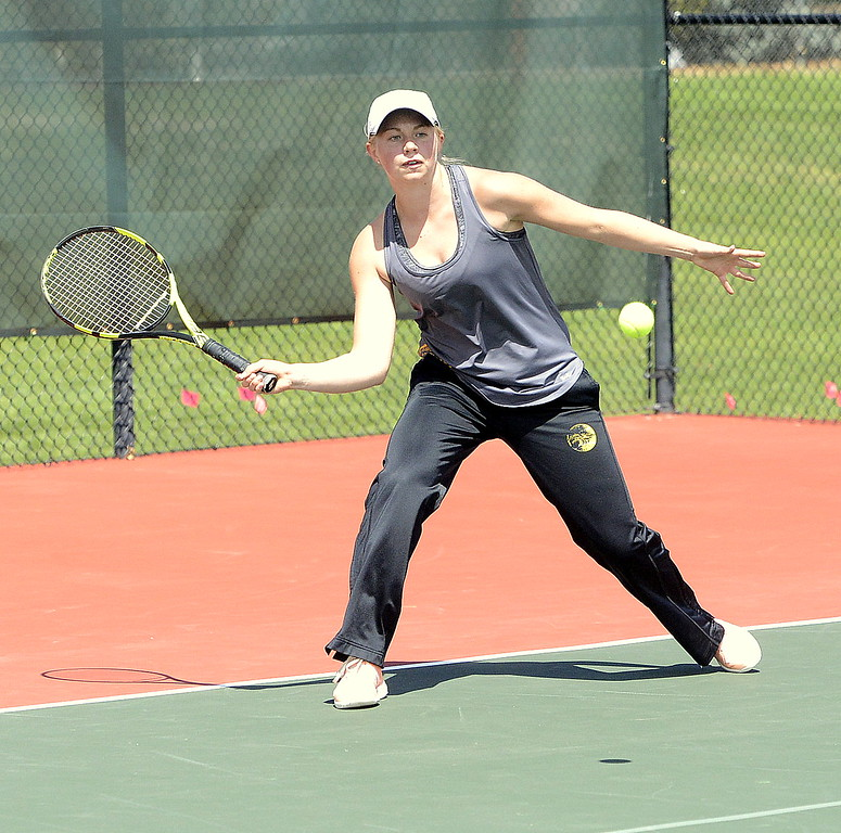 Thompon Valley's Maddie Sheets returns a shot during her 6-0, 6-1 victory over Mountain View's Kendall Krieger in their No. 2 singles semifinal at the 4A Region 4 tournament on Wednesday at Centennial Park in Greeley.