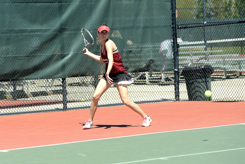 Loveland's Alex Djoumaliev lines up her shot during her No. 1 singles championship match with Thompson Valley's Ashlen Mickelson of Thompson Valley Thursday, May 4, 2017. Djoumaliev won 6-2, 6-0.